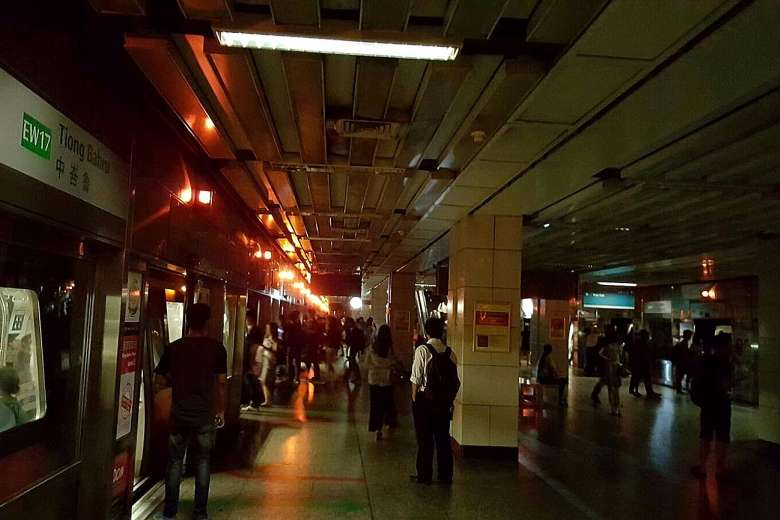 "Emergency Power in Action - Singapore ""All affected stations without power except for emergency lights"""